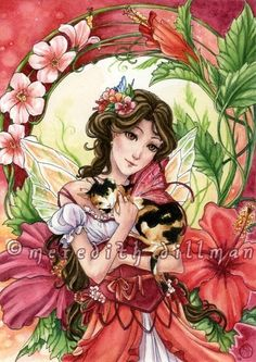 Fairy art print Calico Cat Red Hibiscus flower by meredithdillman