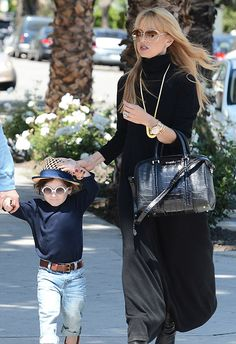 Rachel Zoe carrying her Givenchy Lucrezia Bag while strolling with son Skyler