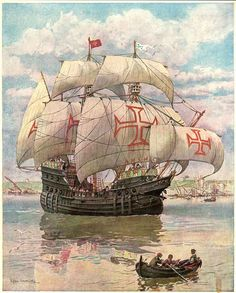 Resultado de imagem para The Poor Knights of Christ and of the Temple of Solomon Knights Hospitaller, Knights Templar, Portuguese Empire, Old Sailing Ships, Ship Paintings, Templer, Kingdom Of Heaven, Ship Art, Tall Ships