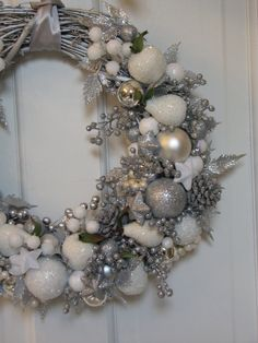 Silver and White Christmas Wreath by CelebrateAndDecorate on Etsy, $225.50