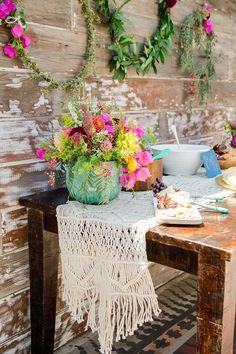 So pretty and effective - the rawness of the timber against the softness of the flowers and greenery