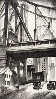 """Louis Lozowick - """"Under the Bridge"""" 1930"""