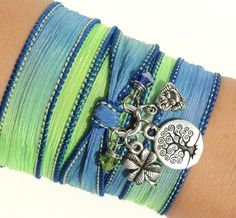 Silk Wrap Bracelet Zen Yoga Jewelry Tree by BohemianEarthDesigns, $30.95