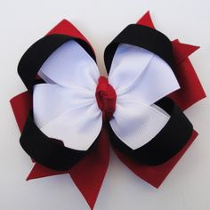 Black, red & white hair bow