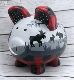 Buffalo Plaid Lumberjack Nursery Moose Piggy Bank in Red, Black and Grey – Cute Adorable Baby Outfits Baby Boy Rooms, Baby Boy Nurseries, Baby Room, Buffalo Plaid, Plaid Nursery, Moose Nursery, Woodland Nursery, Baby Fever, Future Baby