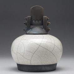 Ceramic Jar with lid Raku fired art potteryblack by DavisVachon, $125.00