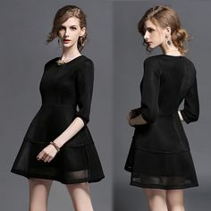 Peng cropped sleeves, skirt the new slim slimming black dress