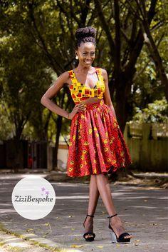 Yellow and Red Mixed Print Cutout Dress