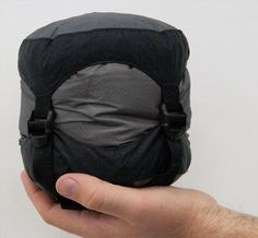 Micro Sleeping Bag - Ultralight (1.5 lbs), small, but somewhat expensive (over four hundred dollars). Love the product and the manufacturer. Perhaps economies of scale or competition will bring the price down.