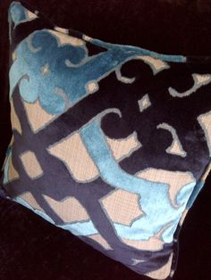 Velvet Throw Pillow in Navy Teal and Gray with by LeahLehmanHome, $79.00