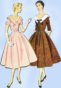 1950s Vintage Misses Dress 1954 McCalls VTG Sewing Pattern 9956 Size 12
