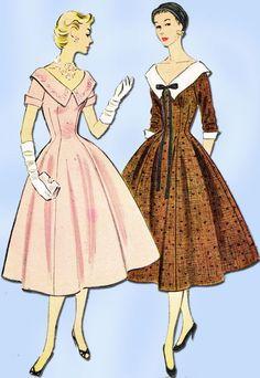 1950s Vintage Misses Dress 1954 McCalls VTG Sewing Pattern 9956 Size 12
