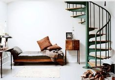 spiral staircase painted green