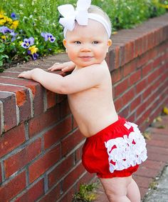 Look at this #zulilyfind! Red & White Collegiate Ruffle Diaper Cover - Infant & Toddler #zulilyfinds