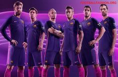 FC Barcelona 2016 2017 Nike Purple Away Football Kit, Soccer Jersey, Shirt, Playera, Maillot, Camiseta, Equipacion de Futbol, Trikot