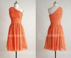 orange bridesmaid dress short bridesmaid dress by sposadress, $98.00