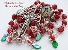 Ste. Therese of the Child Jesus Rosary 156C made by Amy. $78. Available at http://tlicho.ca/