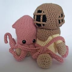 Deep Sea Diver and Squid crochet pattern $7.20 on Amigurumipatterns.net at http://www.amigurumipatterns.net/shop/Maffers%20Toys/Deep-Sea-Diver-and-Squid/