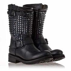9db955b1c44a6 Womens Trash Biker Boot Black Leather Black Studs 312294 Ash Boots