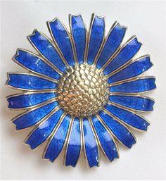 Vintage A. Michelsen Blue Guilloche Enamel Sterling Silver Daisy Flower Brooch  #AntonMichelsen