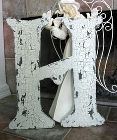 LETTER H Cut Out 2 ft tall Any Letter A - Z, Wedding Guest Book, Save the Date, Shabby Cottage Initial
