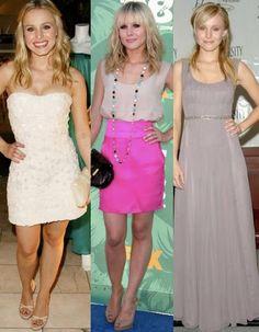 Kristen Bell is adorable. So fashionable. Hot pink skirt. Strapless dress.