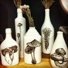 I am always stumbling on cool mushroom art and nick-nacks when I am out and about shopping or running errands. Mushroom Crafts, Mushroom Decor, Mushroom Art, Mushroom Drawing, Nick Nacks, Fungi, Dried Flowers, Decorative Items, Stuffed Mushrooms
