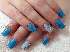 Gel nails, Glitter nails, blue nails, crystals, diamantes, konad stamping nail art by Shimmer Body Studio