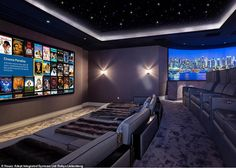 This home cinema in Berkshire gives the likes of exclusive members club Soho House a run for its money, boasting plush couches and even day beds for m. Home Theater Room Design, Movie Theater Rooms, Home Cinema Room, Home Theatre, Home Theater Lighting, Soho House, Dream Home Design, House Design, Extravagant Homes