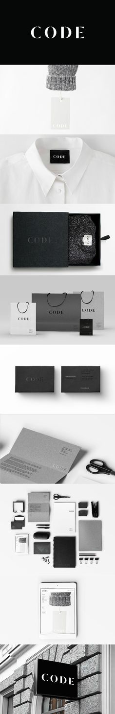 Identity for Code, Luxury Fashion Brand / Branding / Brand design / Label design / Tag design / Logo… - Fashion Tag Design, Label Design, Collateral Design, Brand Identity Design, Branding Design, Luxury Packaging, Brand Packaging, Luxury Branding, Fashion Logo Design