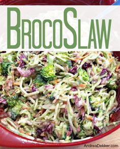 BrocoSlaw is such a simple side dish to make, and it's versatile enough to work with backyard BBQ's, a simple sandwich buffet, or even a ham dinner. Original content from AndreaDekker.com: http://andreadekker.com/yummy-brocoslaw/#ixzz2nNGHtX1z Under Creative Commons License: Attribution Non-Commercial Share Alike