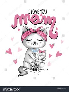 happy mothers day illustration cats graphic for t shirt print