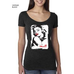 Ladies Triblend Scoop Tee Tshirt Marilyn Monroe Red Lips Monroe Tattoo... ($15) ❤ liked on Polyvore featuring tops, t-shirts, grey, women's clothing, lips t shirt, red baseball tee, scoop neck t shirt, grey tee and scoop tee