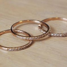 Valentine's Special Promotion - Rose Gold Plated Sterling Silver & Cubic Zirconia Stacking Ring