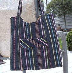 Women's Handbag, Ikea Striped Handbag, Womens Handmade Purse, Shoulder Bag
