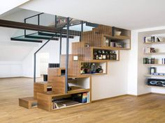 30+ Brilliant Solutions That Will Make The Best Of Your Limited Space - Kueez Stair Bookshelf, Staircase Storage, Loft Stairs, Stair Storage, House Stairs, Dvd Storage, Hidden Storage, Cube Storage, Storage Organization