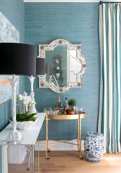 Love this soothing Aqua Grass Cloth Wallpaper and Striped Drapes from Hampton Hostess