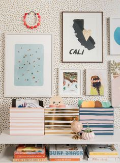 Oh Joy Tips - Kids Art Storage Containers Wooden Containers, Storage Containers, Ikea Wooden Stool, Kids Art Storage, West Elm Desk, Urban Outfitters Rug, Pretty Storage Boxes, Art For Kids, Crafts For Kids