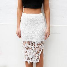 odette lace skirt - white