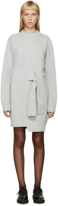 Proenza Schouler Grey Wool Knit Sweater Dress