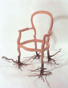 """Mateo Maté, """"ECHAR RAÍCES I""""  1998 Silla y raíces 85 cm (alto) x 85 cm (ancho) x 80 cm (largo), serie """"Echar raíces"""" Ferran Cano Art Gallery"""