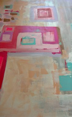 ABSTRACT origianl  painting, fine art, white, blue, pink, red, modern painting by FELICISSIMO on Etsy