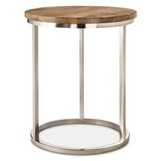 """Threshold™ Metal Accent Table with Wood Top Dimensions: 22.0 """" H x 16.4 """" W x 16.4 """" D"""