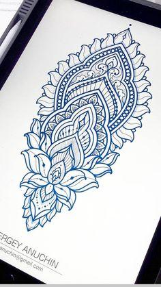 Henna Style Tattoos, Henna Tattoo Designs Arm, Line Art Tattoos, Mandala Tattoo Design, Flower Tattoo Designs, Hand Tattoos, Sleeve Tattoos, Small Girl Tattoos, Girly Tattoos