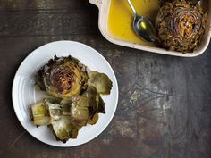 Though traditionally cooked in embers, these artichokes are equally as succulent when oven-roasted.