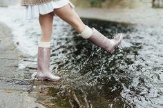 Pink glitter rubber boots