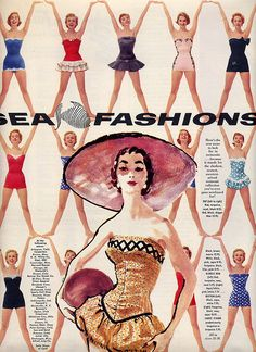 Sea Fashions bathing suit / swimwear vintage ad, 1950s.