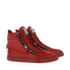Color Rule: high-top sneaker in red calfskin with side zippers and silver metal plate by Giuseppe Zannoti. US $775.00