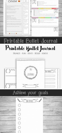 Printable Bullet Journal - Starter Planner - A5 - A4 - US Letter (8.5x11) Bullet journals can be amazingly beautiful, but they are also incredibly time consuming. So if you don't have the time to draw out new pages constantly, aren't particularly creative or completely new to bullet journaling then this is the product for you! This download contains 17 hand-drawn style journal pages, which provides a good base for you to start your bullet journal. #bulletjournal #printable #ad #bujokit