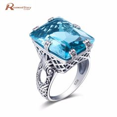 New Bohemia Vintage Tibetan 925 Sterling Silver Sky Blue Crystal Boho Rings Unique Design Elephant Ring For Women Wedding
